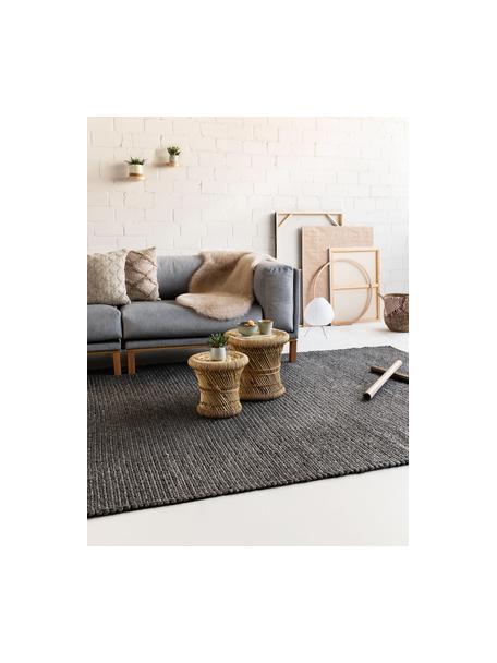 Alfombra artesanal de lana Uno, 60%lana, 40%poliéster Las alfombras de lana se pueden aflojar durante las primeras semanas de uso, la pelusa se reduce con el uso diario, Gris oscuro jaspeado, An 120 x L 170 cm (Tamaño S)