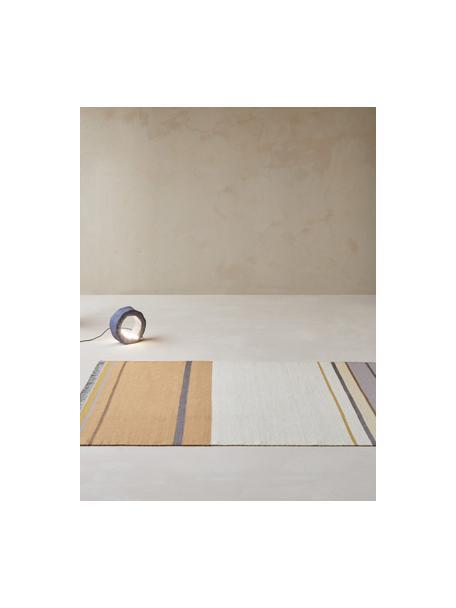 Handgeweven wollen vloerkleed Metallum in beige/geel met franjes, 85% wol, 15% polyester Bij wollen vloerkleden kunnen vezels loskomen in de eerste weken van gebruik, dit neemt af door dagelijks gebruik en pluizen wordt verminderd., Multicolour, B 140 x L 200 cm (maat S)