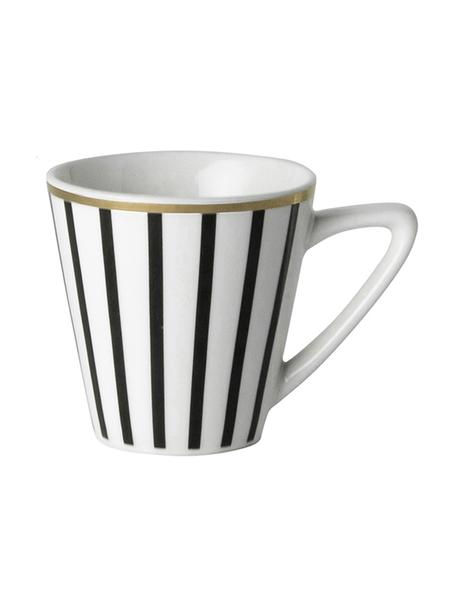 Espresso kopjes Pluto Loft met streepversiering en gouden rand, 4 stuks, Porselein, Zwart, wit, goudkleurig, Ø 6 x H 6 cm