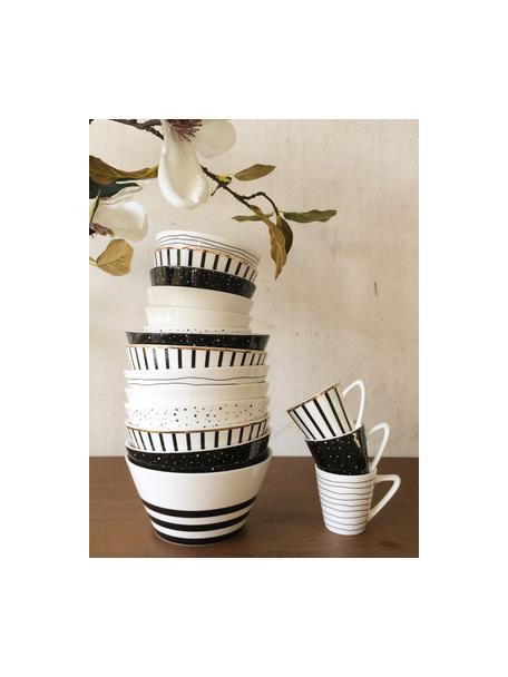 Filiżanka do espresso Pluto Loft, 4szt., Porcelana, Czarny, biały, odcienie złotego, Ø 6 x W 6 cm