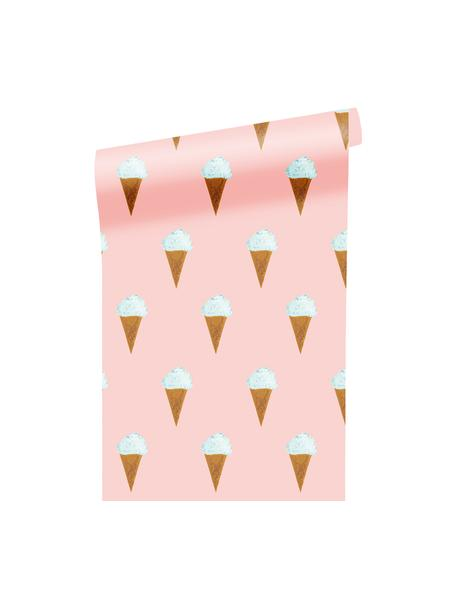 Carta da parati Ice Cream, Carta opaca, 165 g/m², Rosa, bianco, marrone, Larg. 97 x Alt. 280 cm
