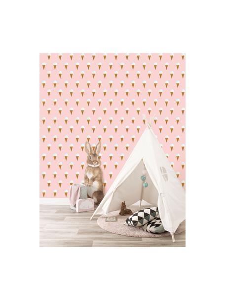 Behang Ice Cream, Papier, mat, 165 g/m², Roze, wit, bruin, Ø 97 x H 280 cm