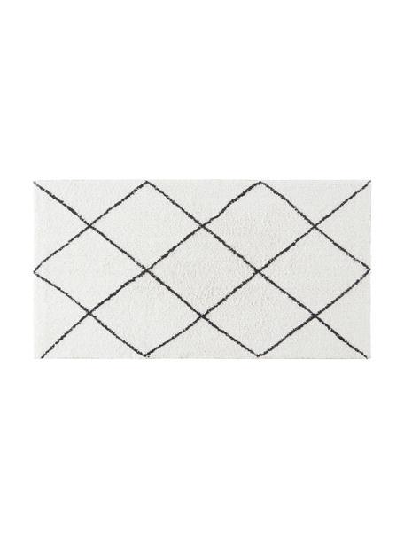 Dywanik łazienkowy Lovi, 100% bawełna, Naturalny biały, czarny, S 80 x D 150 cm
