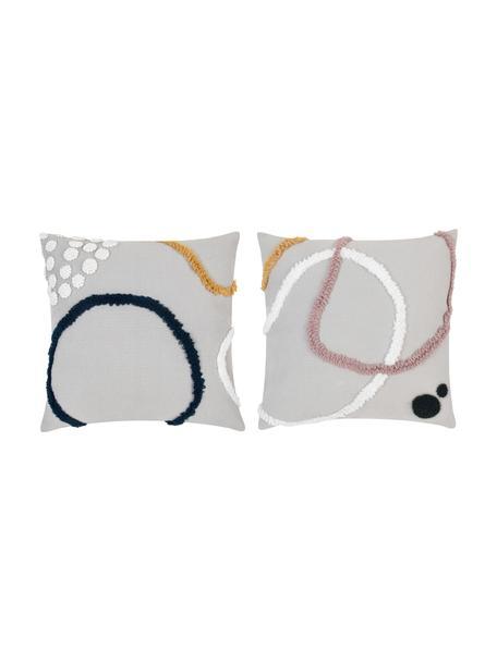Kussenhoezenset Pablo met abstracte decoratie, 2-delig, 100% katoen, Voorzijde: multicolour. Achterzijde: wit, 45 x 45 cm