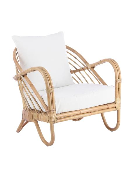 Rotan loungefauteuil Rochester, Frame: rotan, Bekleding: polyester, Rotankleurig, wit, 75 x 80 cm