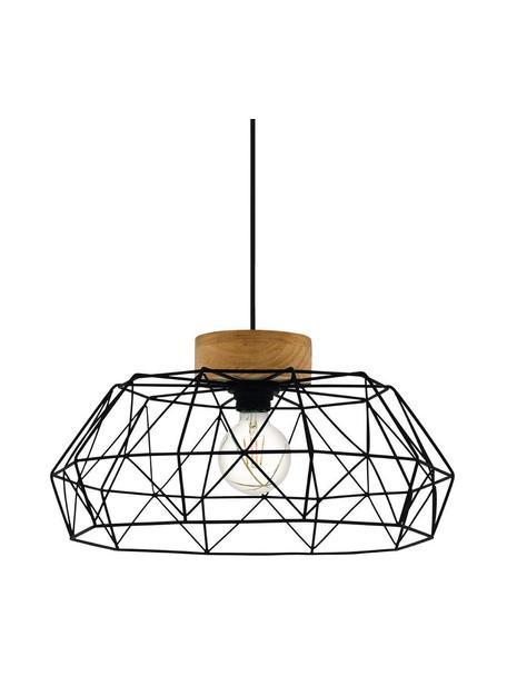 Hanglamp Padstow met houten decoratie, Lampenkap: gecoat staal, Decoratie: hout, Baldakijn: gecoat staal, Zwart, bruin, Ø 46 x H 110 cm