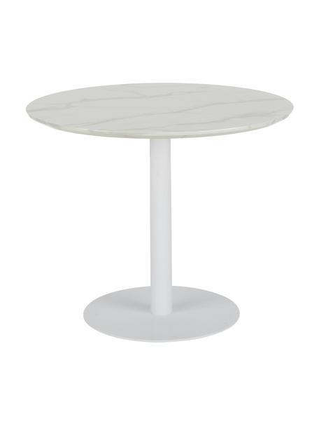 Mesa de comedor redonda Karla, tablero en aspecto mármol, Tablero: tablero de fibras de dens, Estructura: metal con pintura en polv, Blanco, Ø 90 x Al 75 cm