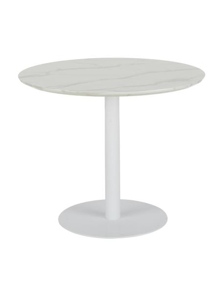 Okrągły stół do jadalni z imitacją marmuru Karla, Blat: płyta pilśniowa średniej , Biały z imitacją marmuru, Ø 90 x W 75 cm