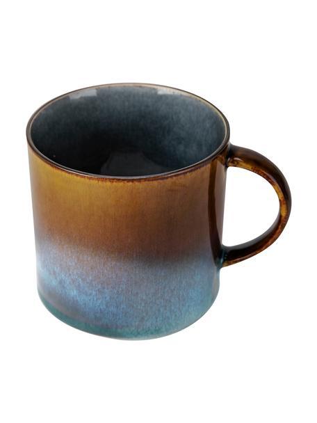 Tazas artesanales Quintana Blue, 2uds., Porcelana, Azul, marrón, Ø 9 x Al 9 cm