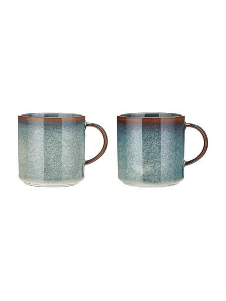 Tazas de café artesanales Quintana Blue, 2uds., Porcelana, Azul, marrón, Ø 9 x Al 9 cm