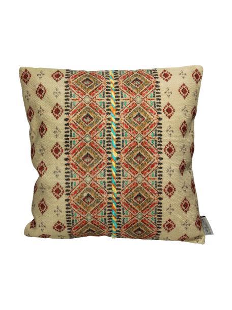 Cojín bordado Otton, estilo boho, con relleno, Funda: 100%algodón, Beige, multicolor, An 45 x L 45 cm