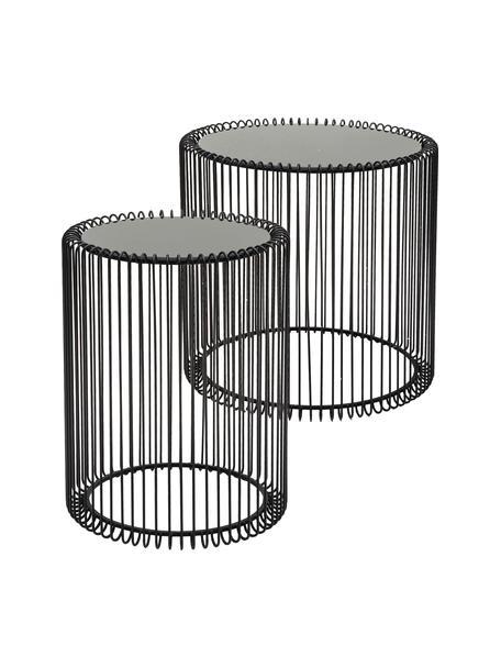 Komplet stolików pomocniczych z metalu ze szklanym blatem Wire, 2 elem., Stelaż: metal malowany proszkowo, Blat: szkło hartowane foliowane, Czarny, Komplet z różnymi rozmiarami