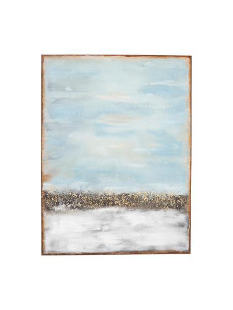 Handbeschilderde canvasdoek Abstract Horizon, Afbeelding: acryl verf, Lijst: massief natuurlijk dennen, Blauw, multicolour, 90 x 120 cm