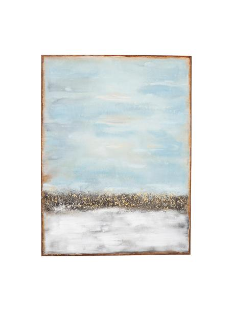 Handgemaltes Leinwandbild Abstract Horizon, Bild: Acrylfarbe, Blau, Mehrfarbig, 90 x 120 cm