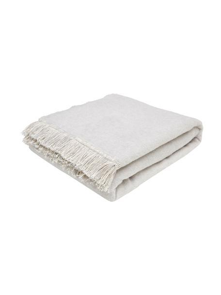 Coperta morbida in cotone grigio con frange Vienna, 85% cotone, 8% viscosa, 7% poliacrilico, Grigio chiaro, Larg. 150 x Lung. 200 cm