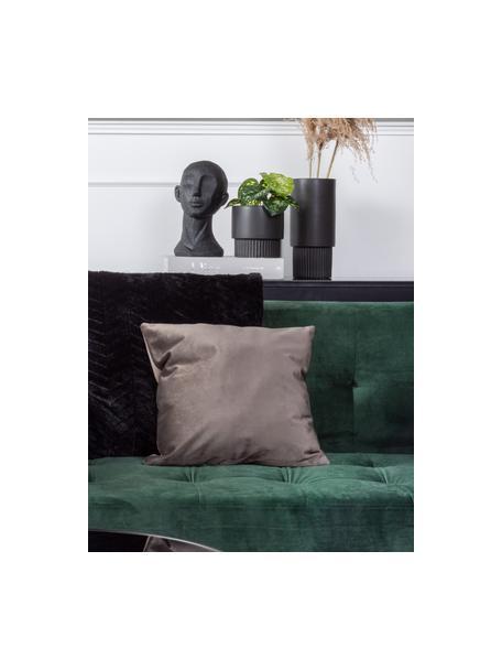 Plantenpot Ribbed van keramiek, Keramiek, Zwart, Ø 13 x H 14 cm