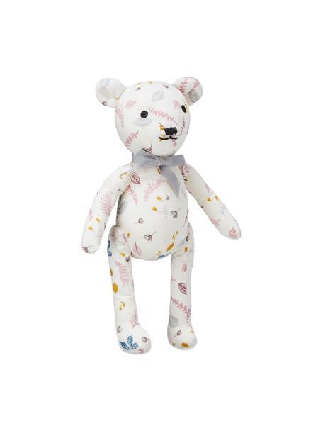 Kuscheltier Teddy aus Bio-Baumwolle, Bezug: 100% Biobaumwolle, OCS-ze, Weiß, Rosatöne, Gelb, 14 x 28 cm