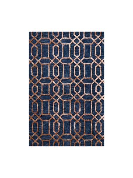 Handgetufteter Wollteppich Vegas mit Hoch-Tief-Effekt, Flor: 80% Wolle, 20% Viskose, Dunkelblau, Braun, B 200 x L 300 cm (Größe L)