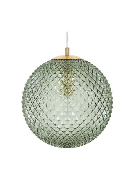 Lámpara de techo pequeña de vidrio Lorna, Pantalla: vidrio, Cable: plástico, Verde, Ø 25 cm
