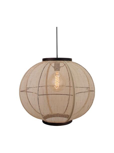 Lampa wisząca z włókna bambusowego w stylu boho Tanah, Czarny/drewno naturalne, Ø 47 x W 47 cm