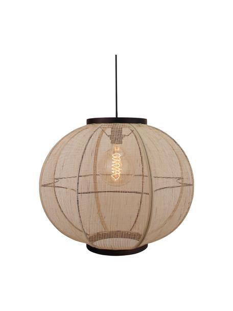 Lampada a sospensione boho in bambù Tanah, Paralume: tessuto, Struttura: bambù, Baldacchino: metallo, Nero/terra, Ø 47 x Alt. 47 cm