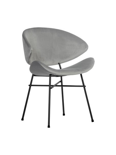 Sedia imbottita in velluto idrorepellente grigio chiaro Cheri, Rivestimento: 100% poliestere (velluto), Grigio chiaro, nero, Larg. 57 x Prof. 55 cm