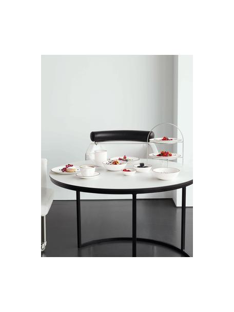 Talerz do makaronu á table ligne noir, 4 szt., Porcelana chińska Porcelana chińska Fine Bone China to miękka porcelana wyróżniająca się wyjątkowym, półprzezroczystym połyskiem, Biały Krawędź: czarny, Ø 22 x W 5 cm