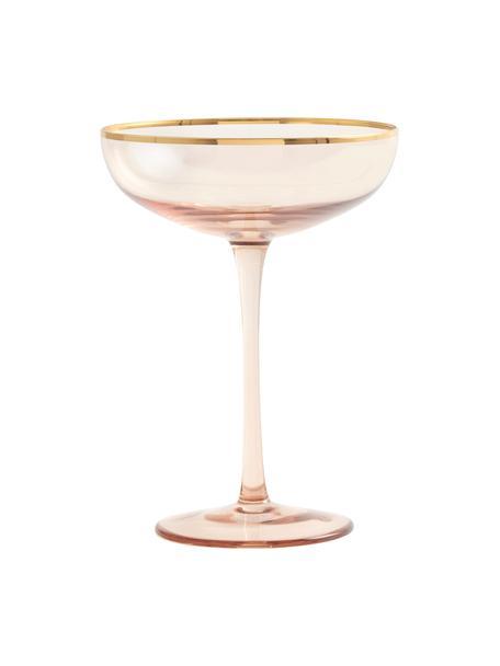 Champagnerschalen Goldie in Rosé mit Goldrand, 6 Stück, Glas, Rosa,Gold, Ø 12 x H 17 cm