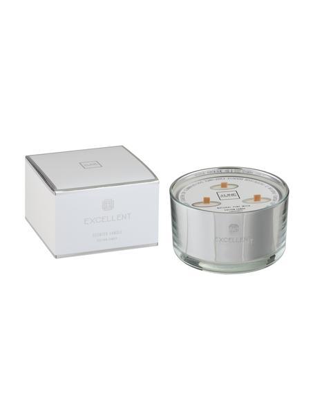 Świeca zapachowa z trzema knotami Excellent (wata cukrowa), Odcienie srebrnego, Ø 14 x W 9 cm