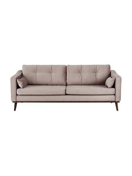Samt-Sofa Alva (3-Sitzer) in Taupe mit Buchenholz-Füssen, Bezug: Samt (Hochwertiger Polyes, Gestell: Massives Kiefernholz, Samt Taupe, B 215 x T 92 cm