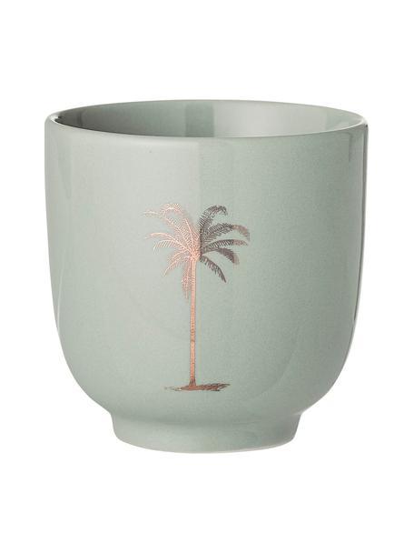 Tazza da te con motivo a palma Reese 2 pz, Ceramica, Verde, color rame, Ø 7 x Alt. 7 cm