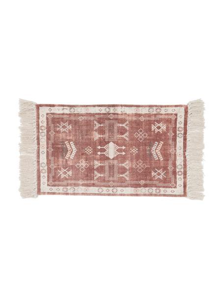 Baumwoll-Fußmatte Tanger mit Fransenabschluss, 100% Baumwolle, Terrakotta, Cremefarben, 45 x 75 cm