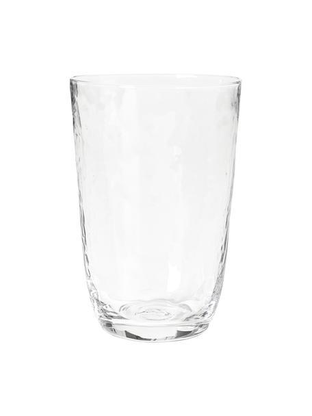 Vasos de vidrio soplado artesanalmente Hammered, 4uds., Vidrio soplado artesanalmente, Transparente, Ø 9 x Al 14 cm
