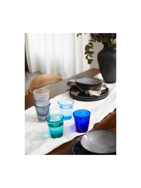 Wassergläser Baita in Blautönen und mit Lufteinschlüssen, 6er-Set, Glas, Blautöne, Ø 9 x H 10 cm