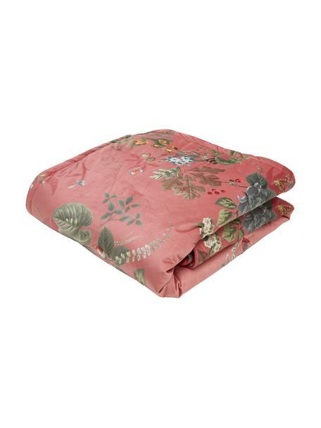 Samt-Tagesdecke Fall in Leaf in Altrosa mit Blumenmuster, Polyestersamt, Altrosa, Mehrfarbig, B 180 x L 260 cm (für Betten bis 160 x 200)