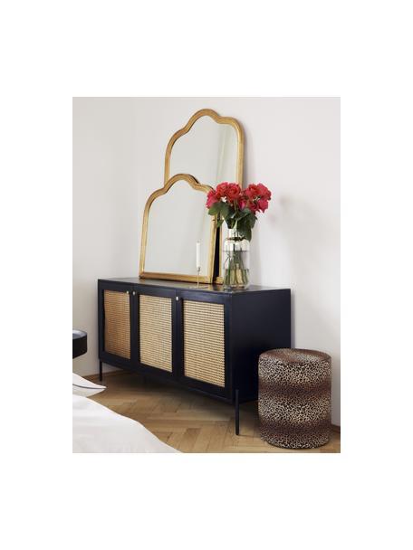 Aparador con tejido vienes Vienna, Estructura: madera de mango maciza, p, Patas: metal con pintura en polv, Negro, beige, An 165 x Al 78 cm