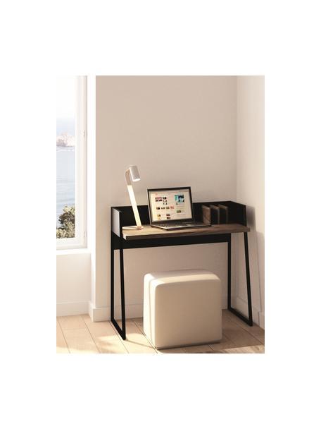 Escritorio en nogal Camille, Patas: metal pintado, Nogal, negro, An 90 x F 60 cm