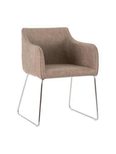 Krzesło ze sztucznej skóry Alice, Tapicerka: sztuczna skóra (PU), Beżowy, S 57 x G 55 cm