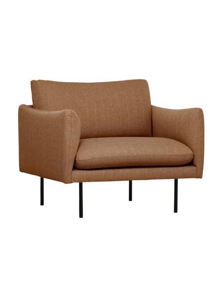 Sessel Moby in Nougat mit Metall-Füßen, Bezug: Polyester Der hochwertige, Füße: Metall, pulverbeschichtet, Webstoff Nougat, B 90 x T 90 cm
