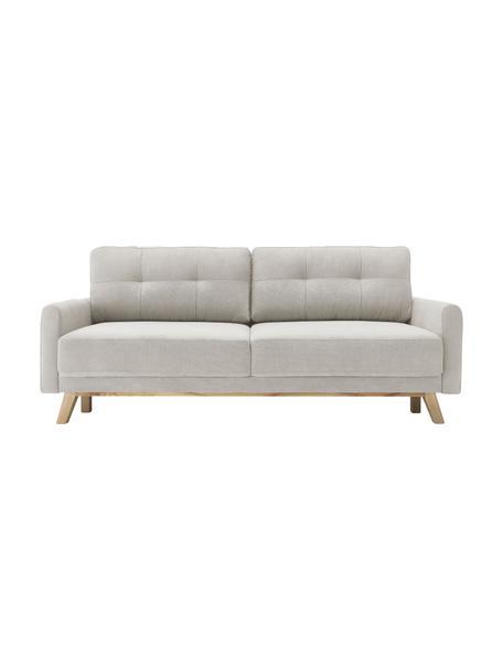 Sofá cama de terciopelo Balio (3plazas), con espacio de almacenamiento, abatible, Tapizado: 100%terciopelo de poliés, Patas: madera, Crema, An 216 x F 102 cm