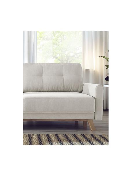 Sofá cama de terciopelo Balio (3plazas), con espacio de almacenamiento, abatible, Tapizado: 100%terciopelo de poliés, Patas: madera, Terciopelo crema, An 216 x F 102 cm