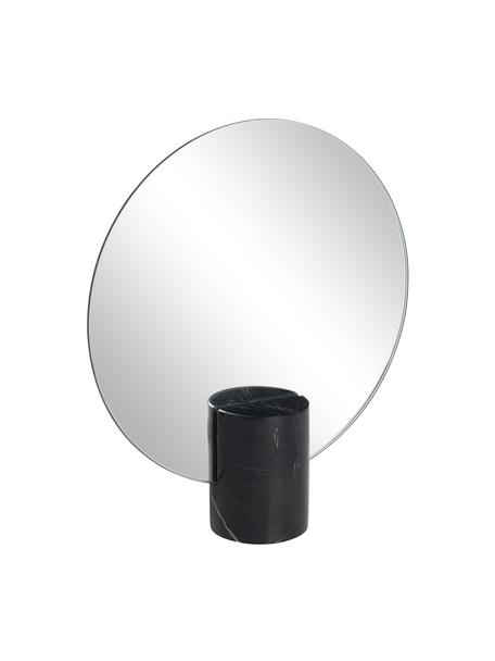 Rahmenloser Kosmetikspiegel Pesa, Spiegelfläche: Spiegelglas, Sockel: Marmor, Schwarz, 22 x 25 cm