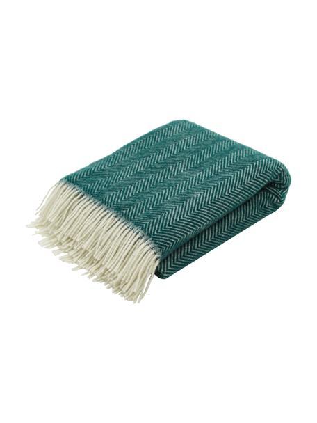 Manta de lana con flecos Tirol-Mona, 100%lana, Verde, blanco, An 140 x L 200 cm