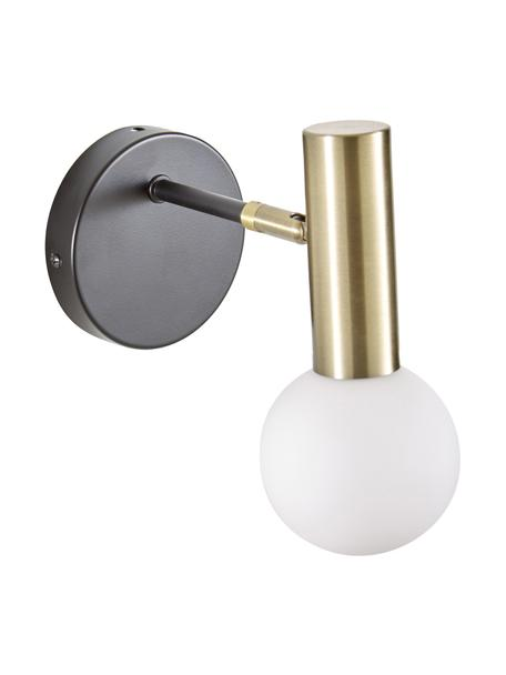Wandlamp Wilson met glazen lampenkap, Lampenkap: opaalglas, Fitting: vermessingd metaal, Zwart, goudkleurig, 10 x 22 cm