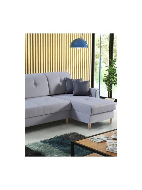Sofá cama rinconero Hilton, con espacio de almacenamiento, Tapizado: 100%poliéster, Gris, An 234 x F 146 cm