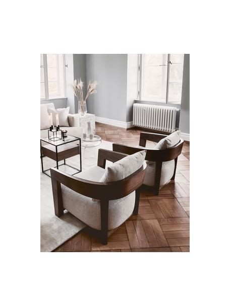 Fauteuil Rubautelli van hout, Frame: MDF, walnootfineer, Bekleding: 58% polyester, 42% olefin, Geweven stof beige, B 74 x D 80 cm