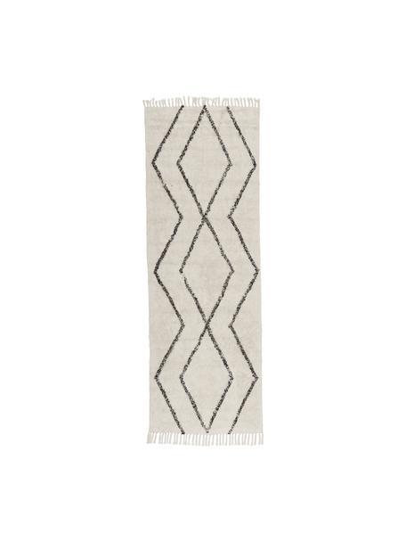 Handgetufte katoenen boho loper Bina met ruitjesmotief en franjes, 100% katoen, Beige, zwart, 80 x 250 cm