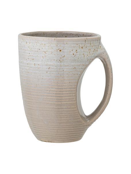 Tazas de café esmaltadas artesanalmente Taupe, 2uds., Gres, Gris, Ø 10 x Al 13 cm