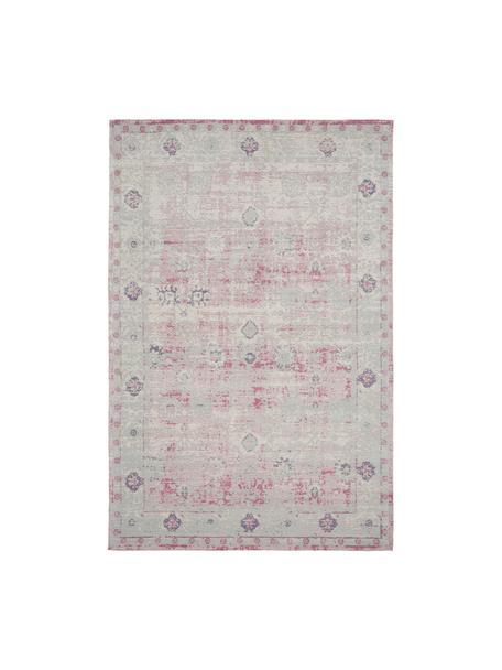Vintage Chenilleteppich Rimini in Rosa-Hellgrau, handgewebt, Flor: 95% Baumwolle, 5% Polyest, Rosa,Grau, B 200 x L 300 cm (Größe L)