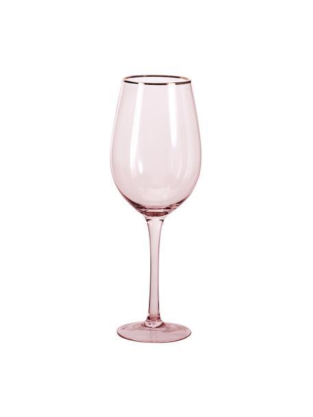 Weingläser Chloe in Rosa mit Goldrand, 4 Stück, Glas, Pfirsich, Ø 9 x H 26 cm